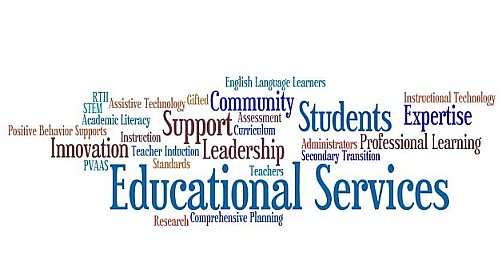 a word cloud of Ed Services topics