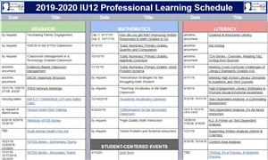 Screen shot of the learning schedule